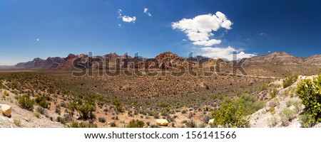 A panorama of Red Rock Canyon, Las Vegas, Nevada, USA - stock photo