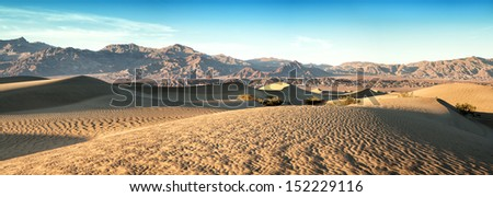 A panorama of the Mesquite sand dunes of Death Valley, California, USA - stock photo