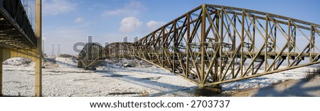 """A panorama of the """"Pont de Quebec"""" in winter - stock photo"""