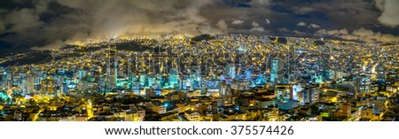 A Panorama view at nicht over La Paz, Bolivia - stock photo