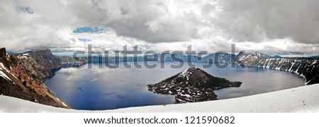 A panorama view of crater lake national park - stock photo