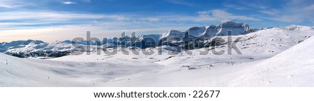 A panoramic of the Canadian Rockies at Sunshine Village. - stock photo