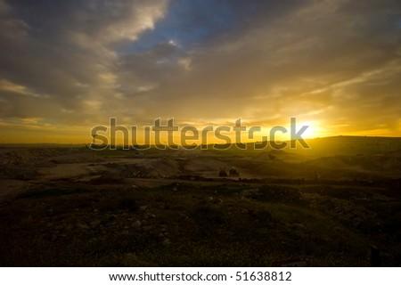 A panoramic scene of sunrise in Amman, Jorad. - stock photo