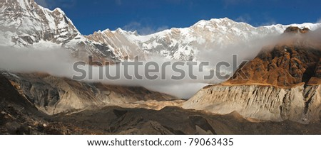 A Panoramic View of Annapurna I from the South Annapurna Glacier