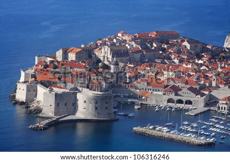 A panoramic view of city Dubrovnik, Croatia - stock photo