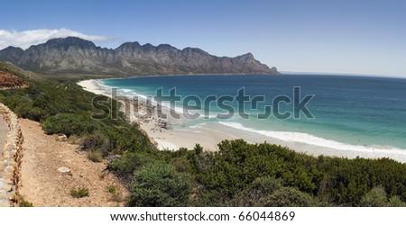A panoramic view of Kogelbaai or Koe�«lbaai between Cape Town and Cape Hangklip on the Atlantic Ocean seaboard,  South Africa - stock photo