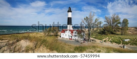 A Panoramic View Of Lake Michigan And The Big Sable Point Lighthouse, Ludington, Michigan - stock photo