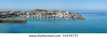 A panoramic view of St. Ives harbour in Cornwall, UK. - stock photo