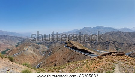 A panoramic view of the Atlas mountains, Morocco. - stock photo