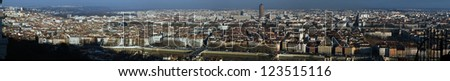 A panoramic view of the city of Lyon in Winter. Seen from the Fourviere hill. - stock photo