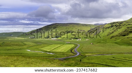 A panoramic view of the Icelandic countryside - stock photo