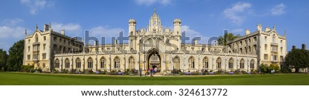 A panoramic view of the magnificent St. Johns College in Cambridge, UK. - stock photo