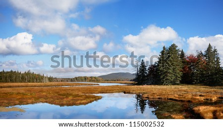 A Panoramic View Of The Marsh Land Surrounding The Marshall Brook, A Winding Waterway, Also Called Bass Harbor Marsh At Acadia National Park, Maine, USA - stock photo
