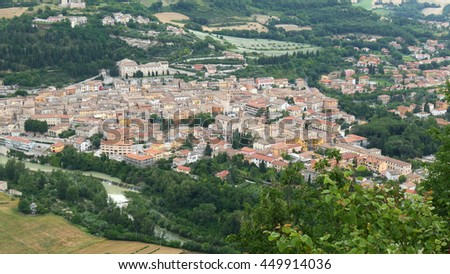 a panoramic view of the town of Fossombrone in the central italian region of Marche.