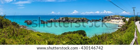A panoramic view of Tobacco Bay near St George's in Bermuda. - stock photo