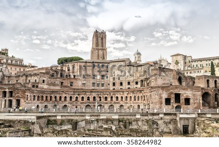 A panoramic view on Trajan's Market, a part of the imperial forum of Rome, Italy.