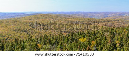 A panoramic view to the west from Balsam Lake Mountain fire tower in early autumn in the Catskills Mountains of New York - stock photo