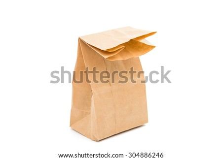 a paper bag on a white background - stock photo