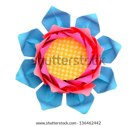 A paper lotus head isolated on white - stock photo