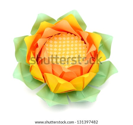 A paper lotus origami on white - stock photo