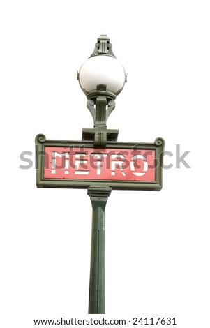 A Paris Metro sign isolated on white