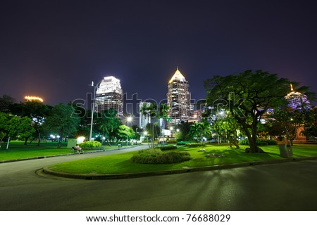 A park and the city - stock photo
