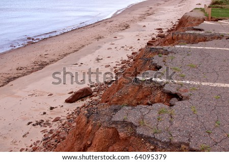 A parking lot in Prince Edward Island National Park on the coast which has been eroded away.