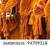 a part of a monk in actions - stock photo