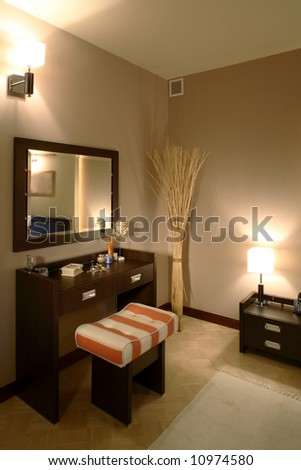 A part of classic bedroom - stock photo