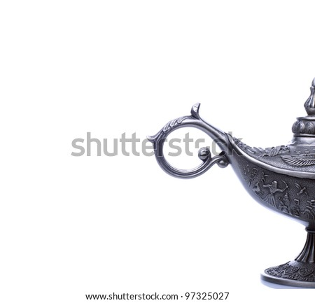 A Part of oil lamp east design with egypt or arabic texture isolated on white background - stock photo