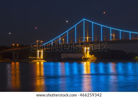 A part of the lit Trukhaniv Bridge in the evening, Kiev, Ukraine