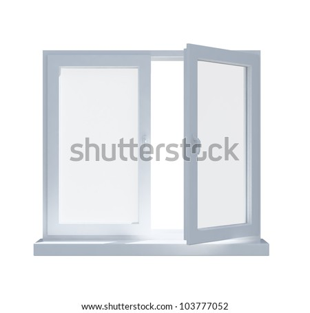 A partially opened window isolated on white background - stock photo