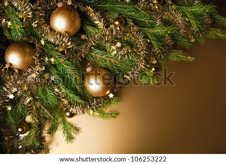 A particular of a Christmas tree with decorations.christmas - stock photo