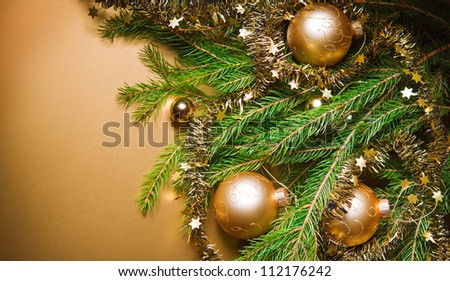 A particular of a Christmas tree with decorations. christmas - stock photo