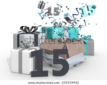 A party with blue colored presents and confetti for number fifteen