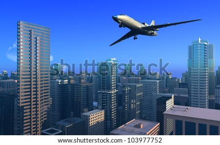 A passenger plane over the city.