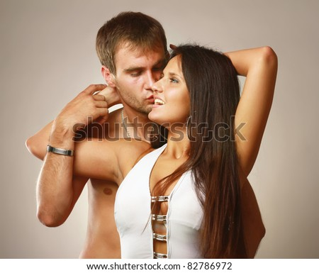 A passionate loving couple - stock photo