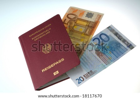 A passport with a 50 euro and a 20 euro note