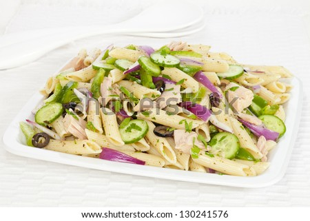 Tuna Pasta Salad With Lemon, Green Olives, And Cucumbers Recipes ...