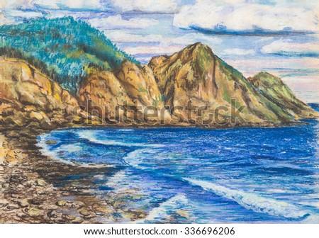 A pastel drawing. Rocky seashore - stock photo