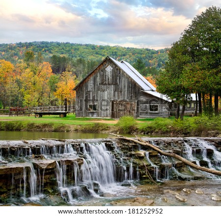 old barn with loft pastoral scene old barn waterfall during stock photo 181252952