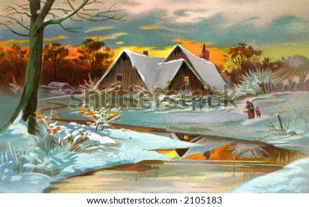 A Pastoral Winter Scenic - a circa 1910 vintage illustration. - stock photo