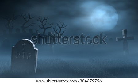 A path between old tombstones on a spooky and foggy graveyard at night. Lit by the light of a full moon. - stock photo