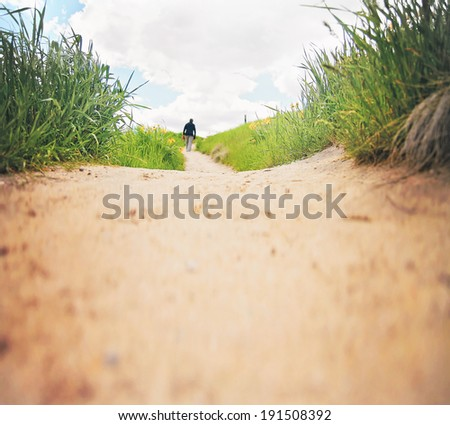 a path going though a meadow - stock photo