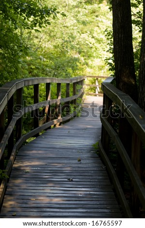 A path in the woods with bright lights ahead - stock photo