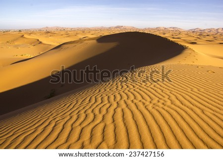 A path on the crest of a sandy dune of the Saharan Erg Chebbi near the Merzouga village in Morocco. - stock photo