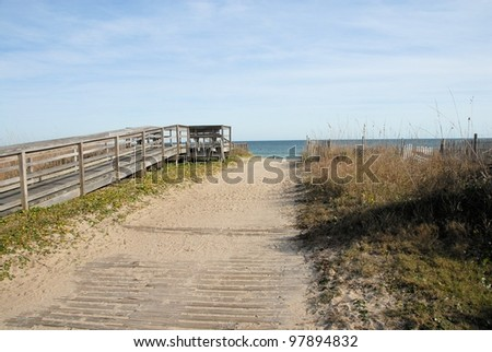 A path to the beach in North Carolina - stock photo