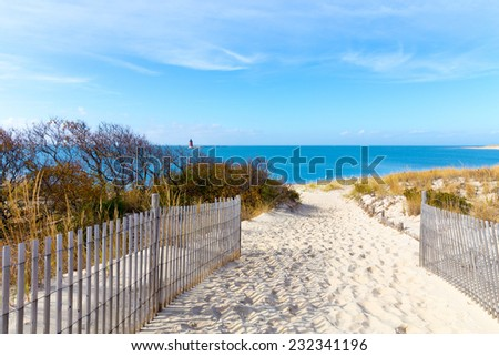 A pathway to the shore at the Delaware seaside with a view of a lighthouse. - stock photo
