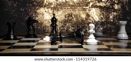 A pawn and the won king. Game of chess - stock photo
