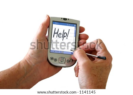 """A PDA with """"Help!"""" written on it. - stock photo"""